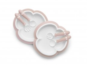 vyr 282 Baby Plate Spoon and Fork Powder Pink 2 pack