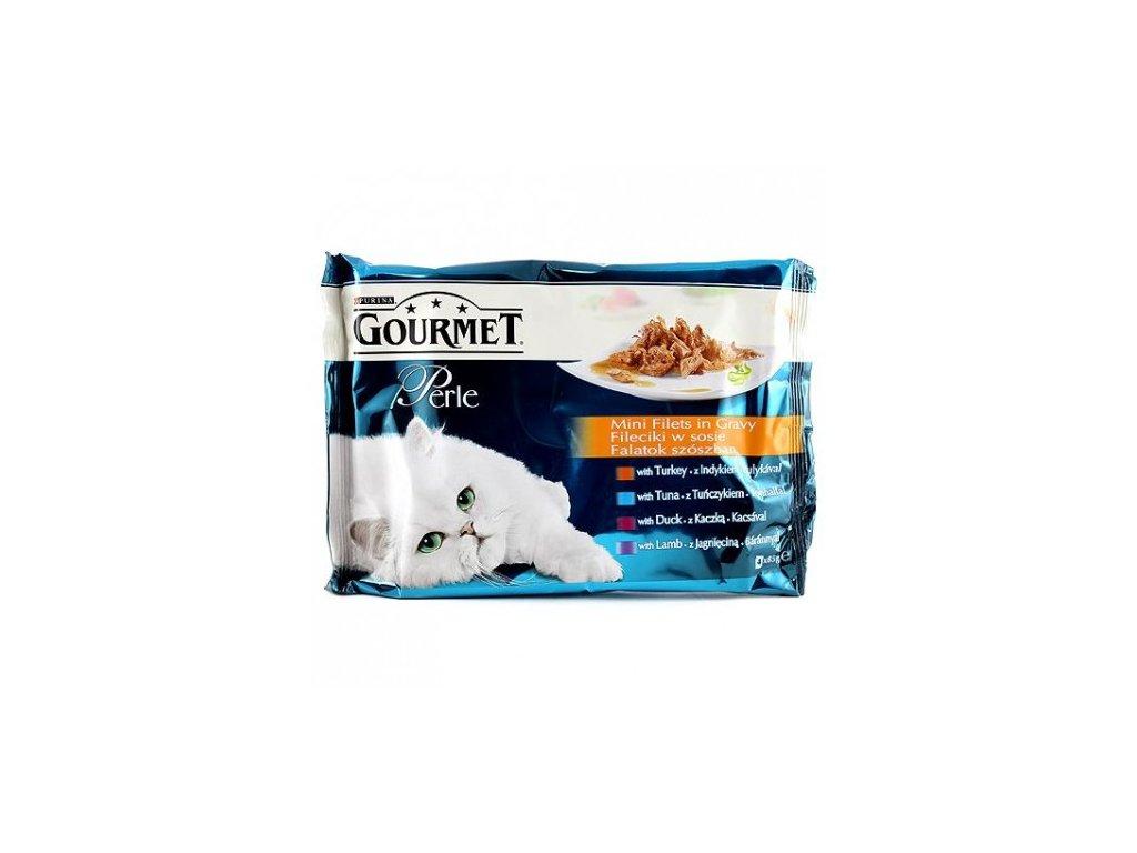 Gourmet Perle kapsičky Mini filets krůta tuňák kachna jehně 4 x 85g