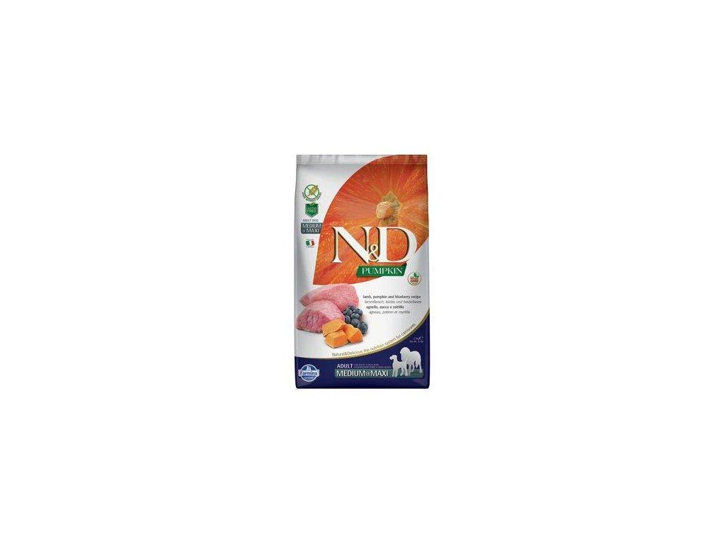 N&D Pumpkin DOG Adult M/L Lamb & Blueberry 12kg  + ZÁSOBNÍK NA KRMIVO ZDARMA! (Platnost do 31.10.2020)