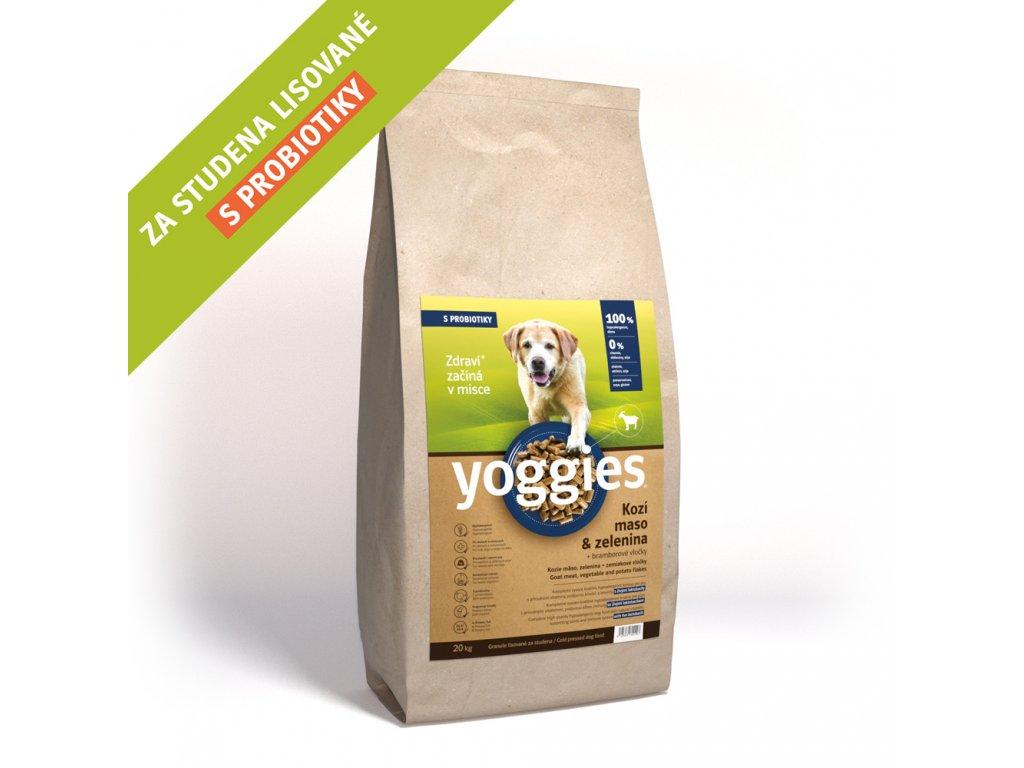 Yoggies 20 kg Kozí maso granule lisované za studena s probiotiky