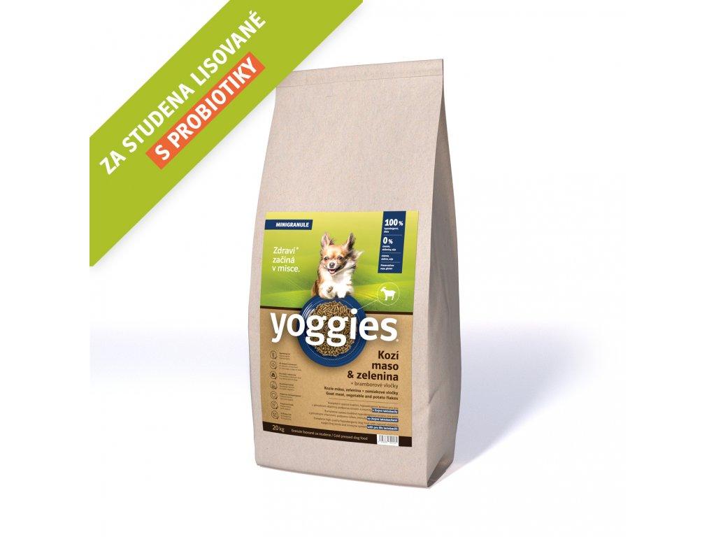 Yoggies 20 kg MINI Kozí granule lisované za studena s probiotiky