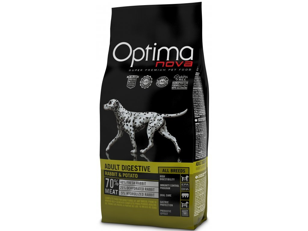 OPTIMAnova Dog GF DIGESTIVE Rabbit 12kg  + FUNKČNÍ PAMLSKY OPTIMANOVA SNACK 150g