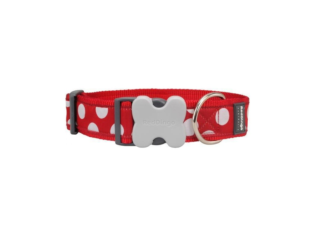 Obojek RD White Spots on Red 2,5/41-63cm