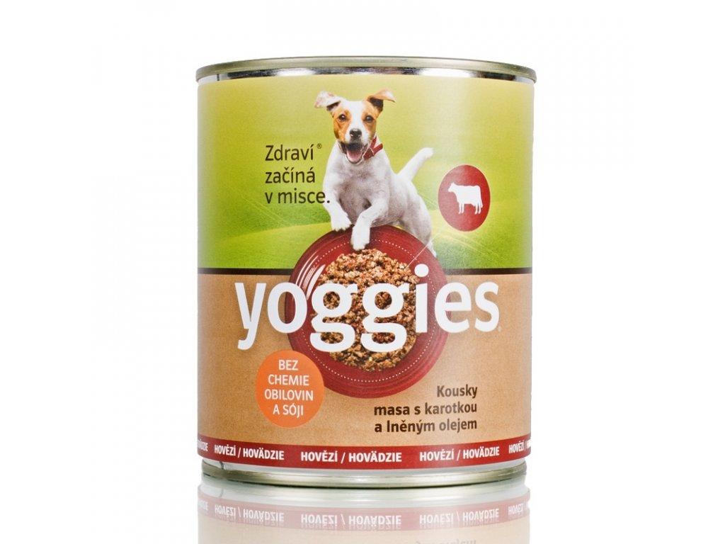 Yoggies Hovězí konzerva pro psy s karotkou a lněným olejem 800g