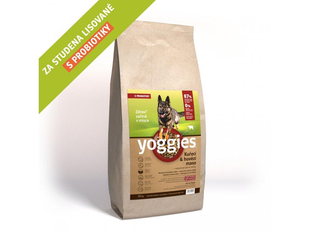 Yoggies 20 kg Kuřecí a hovězí granule lisované za studena s probiotiky
