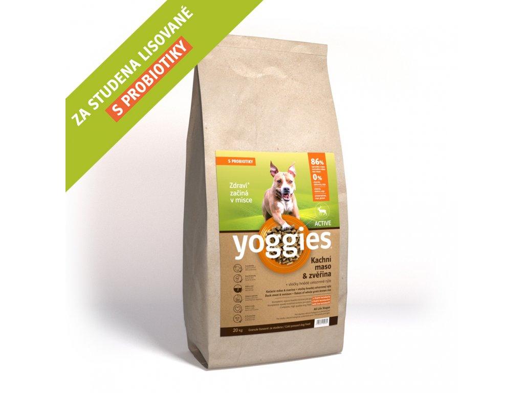 Yoggies 20 kg Active Kachna a zvěřina granule lisované za studena s probiotiky