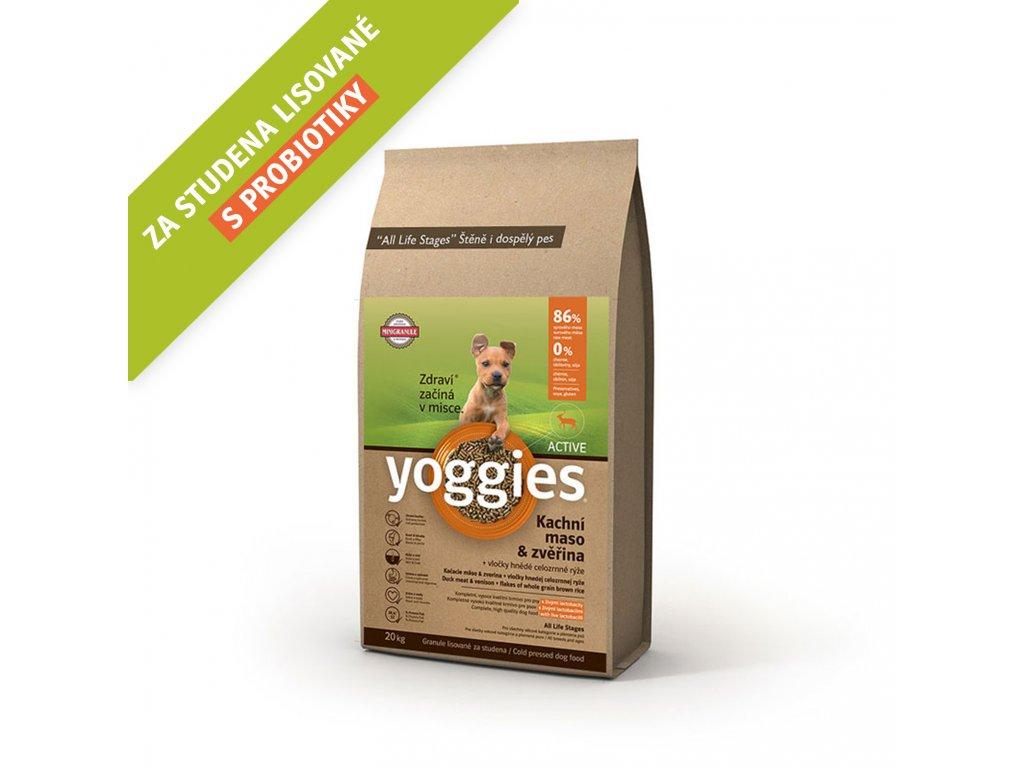 Yoggies 20 kg MINI Active Kachna a zvěřina granule lisované za studena s probiotiky