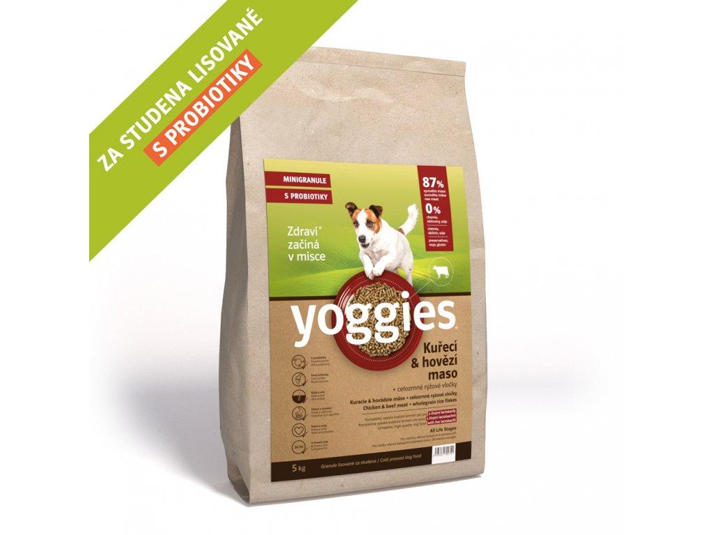 5 kg minigranule kureci a hovezi maso minigranule lisovane za studena s probiotiky yoggies