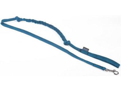 Vodítko nylon pletené s amortizérem - modré ManMat 230 cm