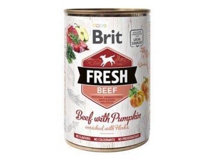 Brit Fresh Dog konz Beef with Pumpkin 400g