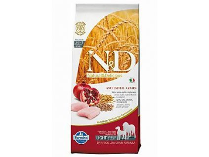 N&D Low Grain Dog Adult Light M/L Chicken & Pomegranate 12kg