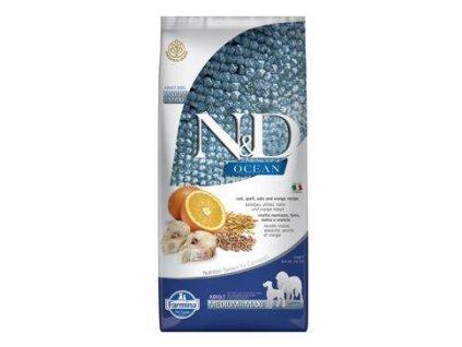 N&D Low Grain Dog Adult Medium / Maxi Codfish & Orange 12kg  + ZÁSOBNÍK NA KRMIVO ZDARMA! (Platnost do 31.10.2020)