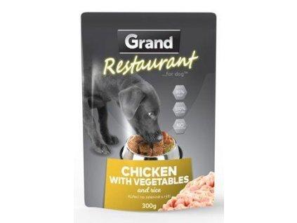 GRAND kaps. deluxe pes Restaur.  kuřecí, zel. 300g