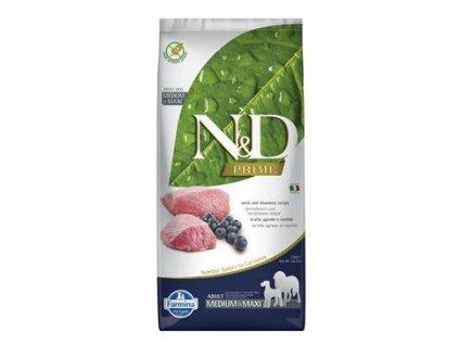 N&D PRIME DOG Adult M/L Lamb & Blueberry 12kg  + ZÁSOBNÍK NA KRMIVO ZDARMA! (Platnost do 31.10.2020)