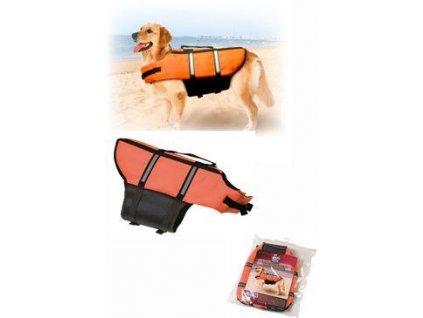 Vesta plavací Dog L 40cm oranžová  + Tender Loving Care pamlsek - jehně 100g