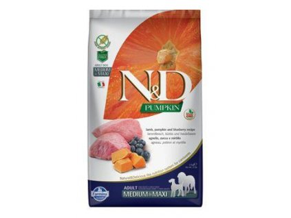 N&D Pumpkin DOG Adult M/L Lamb & Blueberry 12kg  + ZÁSOBNÍK NA KRMIVO ZDARMA! (Platnost do 31.10.2020)