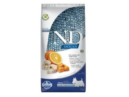N&D OCEAN DOG Adult Mini Codfish&Pumpkin&Orange 7kg  + ZÁSOBNÍK NA KRMIVO ZDARMA! (Platnost do 31.10.2020)