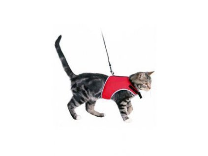 Postroj kočka vesta 24-42cm /1,20m červená TR 1ks