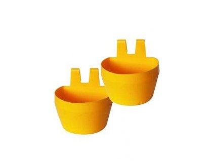 Miska na krmivo KRÁLÍK závěsná 300ml plast, žlutá 2ks