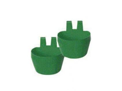 Miska na krmivo KRÁLÍK,závěsná 300ml plast, zelená 2ks