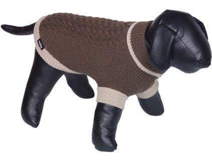 Nobby psí svetr BERAK hnědá pletený vzor 44cm