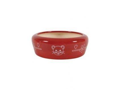 Miska keramická kočka 150ml červená Zolux