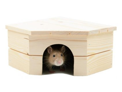 Domek dřevo morče rohový 21 x 21 x 12 cm