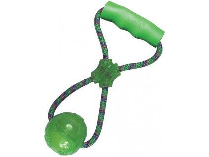 Hračka guma Squeezz míč s držadlem KONG L