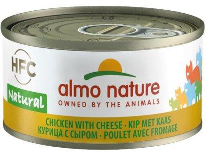 Almo Nature cat konz. Natural-kuře se sýrem 70g