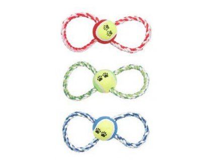 Hračka pes lano s míčkem 25 cm, mix barev