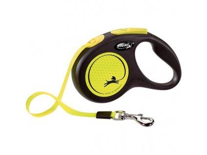 Flexi New Neon S pásek 5 m žluté 15 kg