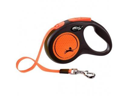 Flexi New Neon S pásek 5 m oranžové 15 kg