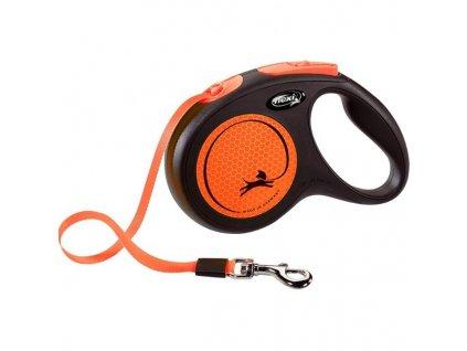 Flexi New Neon M pásek 5 m oranžové 25 kg