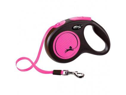 Flexi New Neon M pásek 5 m růžové 25 kg
