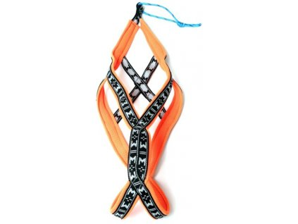Postroj nylon Run long - oranžová ManMat vel.S - krk 43-46 cm