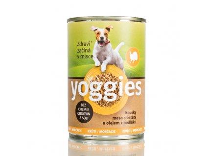Yoggies Krůtí konzerva pro psy s batáty a bodlákovým olejem 400