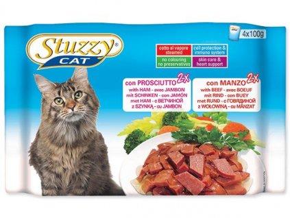 Kapsičky STUZZY Cat ŠUNKA + HOVĚZÍ Multipack 400g