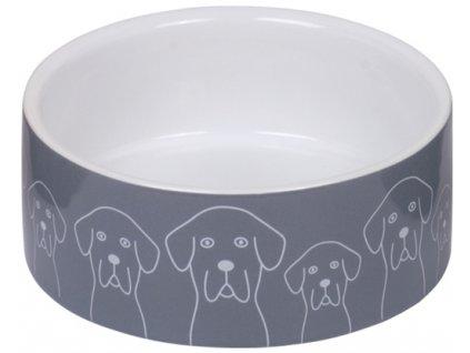 Nobby keramická miska DOGS šedo-bílá 12,0 x 4,5 cm / 0,25 l