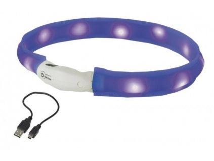 Nobby LED plochý svítící obojek pro psy modrý L 70cm