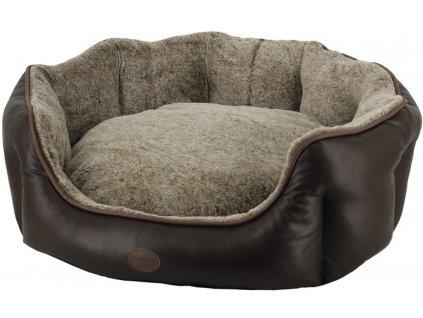 Nobby TARI oválný kožený pelíšek hnědá 65x57x22cm