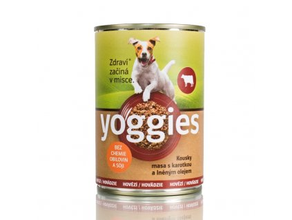 Yoggies Hovězí konzerva pro psy s karotkou a lněným olejem 400 g