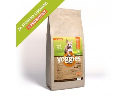 Yoggies 15 kg Active Kachna a zvěřina granule lisované za studena s probiotiky