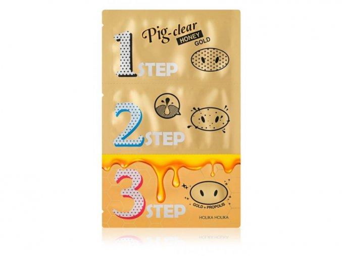 Holika Holika Pig Nose Clear Blackhead 3-Step Kit (Honey Gold)