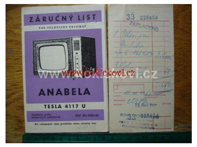 TELEVIZOR TESLA 4117 U ANABELA ZÁRUČNÍ LIST A PARAGON