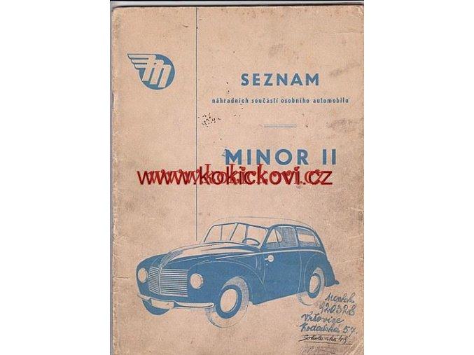 MINOR II - SEZNAM NÁHRADNÍCH SOUČÁSTÍ 1957 MOTOTECHNA