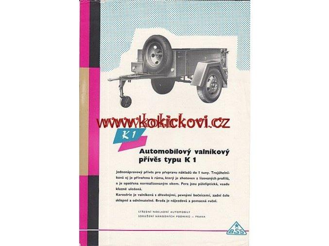 AUTOMOBILOVÝ VALNÍKOVÝ PŘÍVĚS K1 PROSPEKT A4