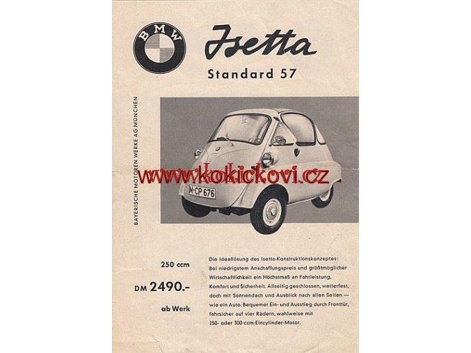 BMW ISETTA EXPORT 57 LETÁK A5 OBOUSTRANNĚ