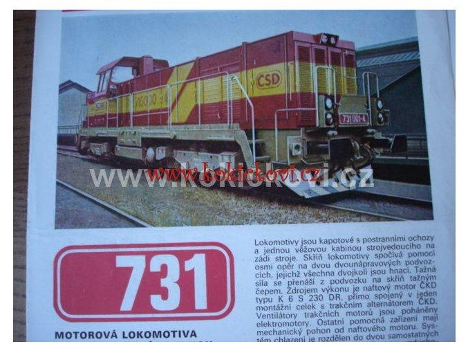 ČKD MOTOROVÁ LOKOMOTIVA 731 A T419.1 REKL. PROSPEKT A4 4 STRANY