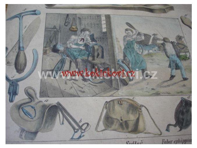 SEDLÁŘSTVÍ - BAREVNÁ LITOGRAFIE K ŘEMESLU SEDLÁŘ c. 1910?