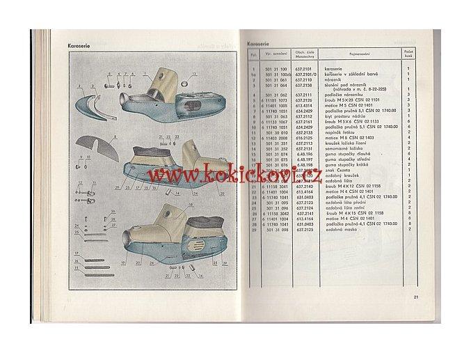 SKÚTR ČEZETA 501 SEZNAM DÍLŮ 175CCM - 1. VYDÁNÍ 1958 - PĚKNÝ STAV